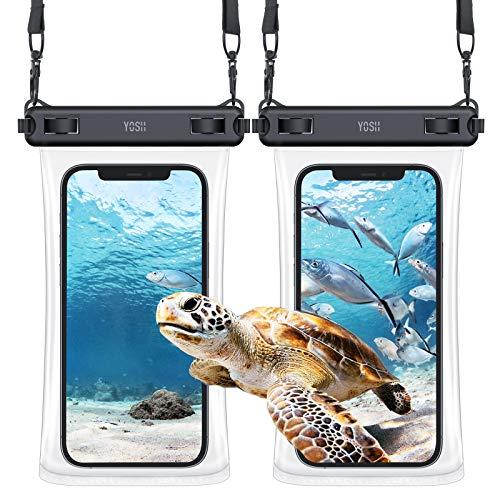 YOSH 2021 TPU 7.5'' Funda Impermeable Móvil IPX8 Universal 2 Unidades, Bolsa para Móvil Estanca a Prueba de Agua para iPhone 12 Pro MAX 11 XR XS X 8 7 Samsung S20 A70 A50 Xiaomi Huawei