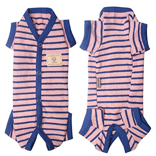 TONY HOBY Pure Cotton Stripe Knit Pajama Pet Thermal Clothes Dog Jumpsuit Pajamas Onesie for Dog Girl Pink (L, Pink-Girls)