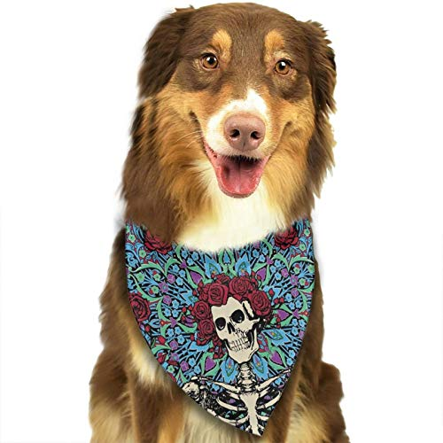 Grateful-Skull-Dead Dog Bandana Cat Bibs Scarf Washable Triangle Kerchief for Pet Scarf
