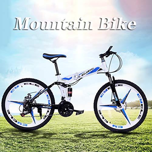 Hmcozy 26' Mountain Bike Cycle - Rare 3 Spoke Mag Alloy wheel - 24 Gears Speed Fold Mountain Bike,Blue,24in