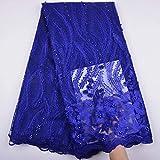 Afrikanischer Spitzenstoff, nigerianisch-französischer Perlen-Spitzenstoff, bestickt, für Hochzeiten, Feiern, Kleider, geschnürte Guipure K8, 274 cm königsblau