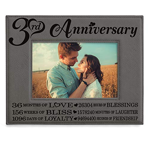 KATE POSH - 3rd Engraved Leather Picture Frame, 3 Years Together for...