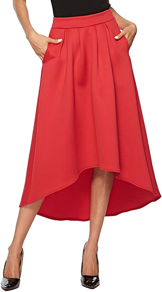 Chowsir Women Casual High Low A-Line Midi Skirt with Pockets
