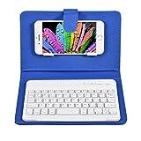 VBESTLIFE Custodia con Tastiera per Telefono Bluetooth Universal Wireless Tastiera del Telefono Custodia Cover Senza Fili con Supporto per Telefono iOS/Android(Blu)
