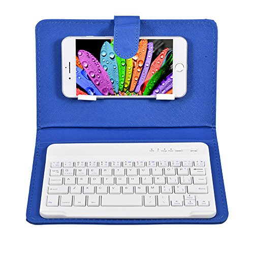 VBESTLIFE Universal Wireless Bluetooth Tastatur Flip Hülle mit Stand für iOS/Android Handys(blau)
