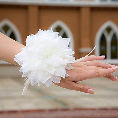 Miya® 1 Fleur blanche comme bracelet/accessoires pour cheveux en voile dentelle, accessoires mariage, vacances, accessoires de plage cérémonie, mariée bijou de cheveux