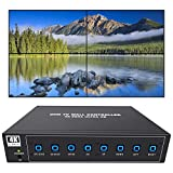 ISEEVY 4K60 UHD Video Wall Controller 2x2 1x2 2x1 1x3 3x1 1x4 4x1 TV Wall Controller for 4 TV Splicing Display Support 3840x2160@60Hz Inputs and Rotate 90 Degree for Portrait Mode Screens