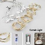 Vegena LED USB Lichtervorhang 3m x 3m, 300 LEDs Lichterkettenvorhang mit 8 Modi Lichterkette Gardine für Partydekoration Schlafzimmer Innenbeleuchtung Weihnachten Deko Weiß [Energieklasse A+++] - 2