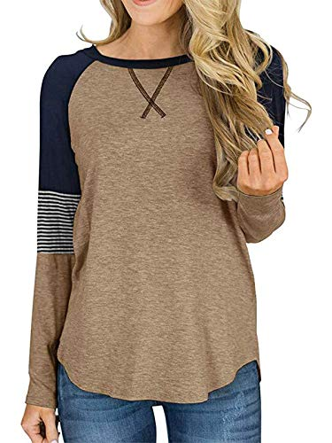 HenzWorld Ladies Homewear Casual Patchwork Túnica Suelta Mujer Color Block Raglan Tops Blusa de Manga Larga Camiseta (Marrón Talla S)