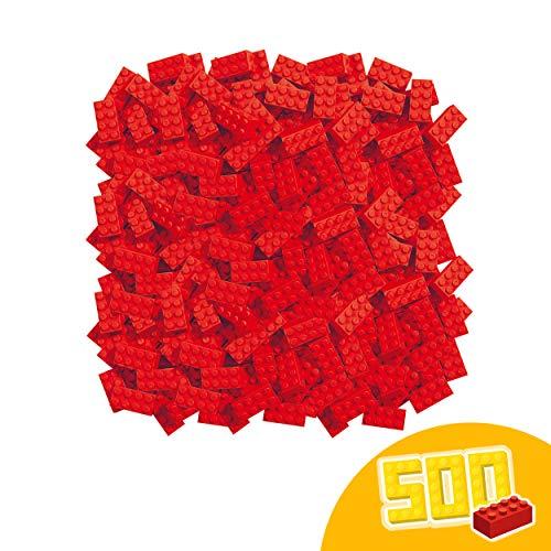 Simba 104118922 Blox, 500 rote Bausteine Made in Italy, 8er Steine, im Karton, incl.Füllbecher, höchste Qualität und 100 Prozent kompatibel mit bekannten Spielsteinen