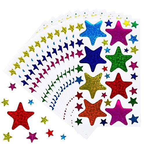 Kenkio 680 Pieces Laser Shiny Sparkle Star Stickers Reward Star Stickers Labels,Self Adhesive Star Stickers, Assorted Size Glitter Star Stickers(20 Sheets)