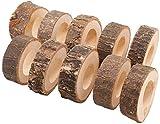 XAVSWRDE 12 Stück Serviettenringe Set Serviettenringe aus Holz Serviettenhalter 5-7cm Serviette Ringe zum Basteln für Hochzeit Geburtstag Weihnachten Taufe Tisch Dekoration(Natur)