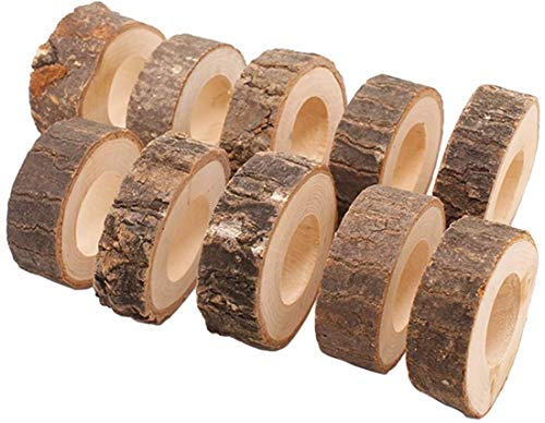 XAVSWRDE 12 Pcs Wooden Napkin Ring Christmas Napkin Ring Holders Round Serviette Holder Decorative Napkin Rings for Xmas Holiday Party Dining Table Decoration, 1.18''
