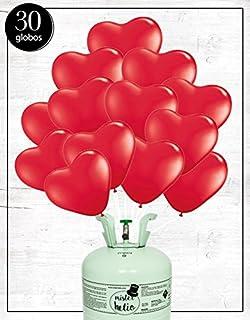 Bombona de Helio Mister Helio + Globos corazón Rojo (30 Unidades)