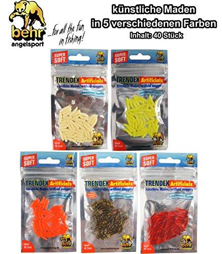 Behr 40 künstliche Maden - Gummimaden Forellenköder, Kunstmaden zum Forellenangeln, Kunstköder für Forellen, Farbe:Fluo-Gelb
