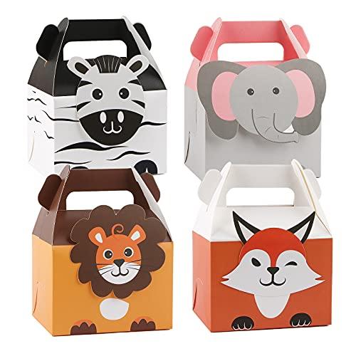 VINFUTUR 20pcs Cajas Regalos Fiestas de Animales Bolsas Caramelos Dulces Cumpleaños Niños Cajas de Papel para Fiestas de Niños Bautizos