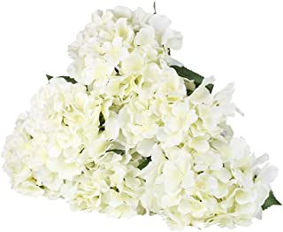 LuLuHouse Silk Hydrangea Head with Stems,Bulk Artificial Hydrangea Flower Heads Decorative Swags for Wedding Home Decor (Ivory White, 10Pcs)