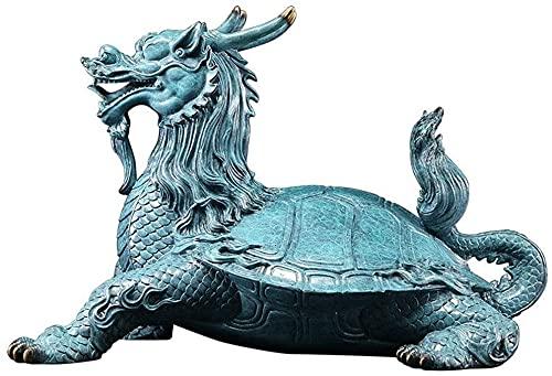 WQQLQX Statue Bronze Drache Kopf Schildkröte Statue Tier Skulptur Kunst Figuren Chinesisches Schreibtisch Feng Shui Dekoration Gute Schmuck Geschenke Skulpturen (Color : Large)