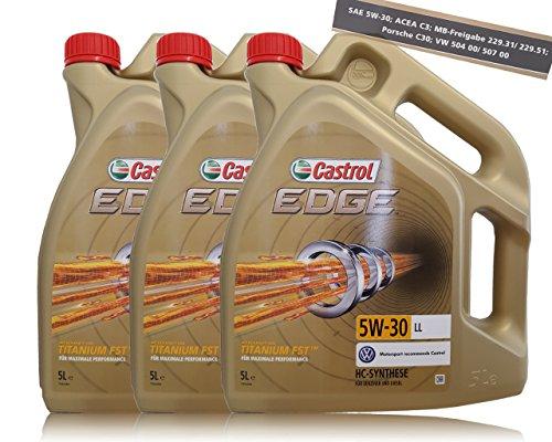 Castrol Edge Fluid Titanium, 5W-30 LL, motorolie, 3 x 5 l = 15 liter