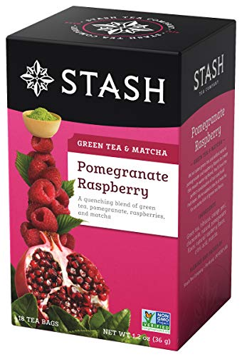 Stash Tea Pomegranate Raspberry Green Tea & Matcha Blend 18 Count Box of Tea Bags in Foil (Pack of 6)