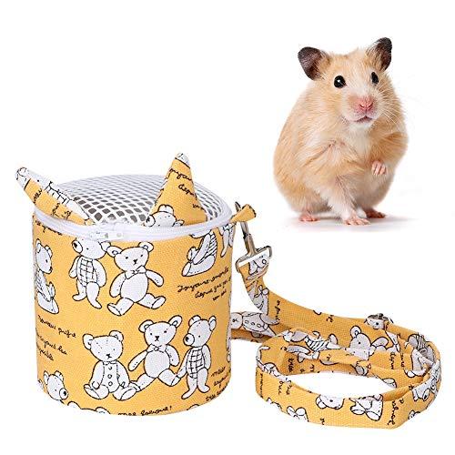 Kleine huisdierendrager, Mini Portable Bear Pattern Draagtas Uitgaande koeltas met verstelbare schouderbanden voor Egel Hamster Muis Rat Eekhoorn