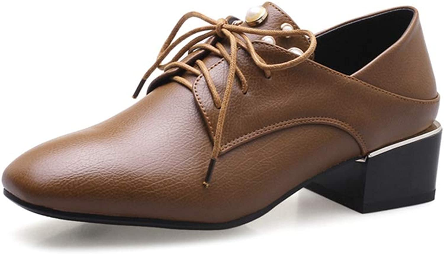 GIY Women's Lace Up Oxford Loafer shoes Square Toe Leather Chunky Mid Heel Pearl Dress Oxfords Pumps