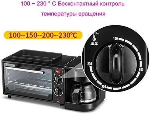 L.BAN Machine à Petit déjeuner 3-en-1 Cafetière 600W + Teppanyaki 750W + Four à Pain 750W Machine à Pain Grille-Pain/Œuf Frit/Cafetière, Noir Red