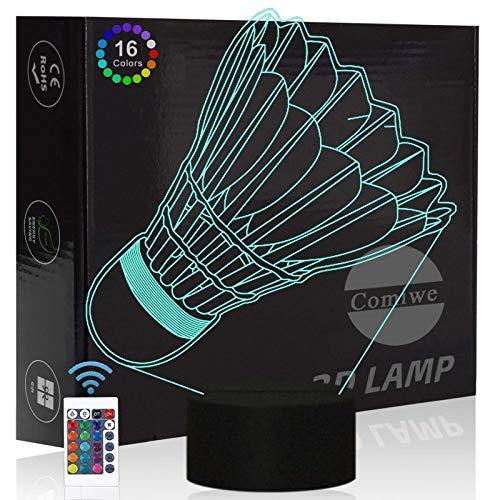 Comiwe Federbälle Badminton 3D Illusion Nachtlicht Spielzeug,Dekoration LED Nachttischlampe 16 Farben Ändern mit Fernbedienung,Weihnachten Deko Geburtstagsgeschenk Für Mädchen Jungen Kinder Freunde