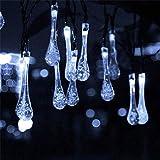 ZSML Cadena de luz Solar navideña a Prueba de Agua, 20 LED, Luces de Lluvia de...