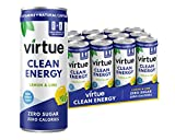 Virtue Clean Energy Drink - Bebida Energética Natural, Sin Azúcar, Cero Calorías (Lemon & Lime, 12 x 250ml)