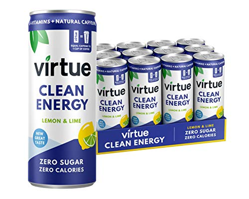 Virtue Clean Energy - Energy Drink Naturale - Senza Zucchero, Zero Calorie, Vegano, Keto, Senza Glutine, Vitamine Gruppo B (Limone & Lime, 12 x 250ml)