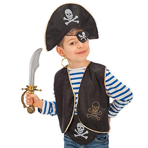 Carnival Toys - Juego pirata para niño: sombrero, parche, chaleco, pendiente, espada y cinturón en bolsa con encabezado, color negro (662)