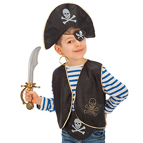 Carnival Toys Set Pirata Bimbo Cappello Benda Gilet Costume Party E Carnevale 509, Multicolore, Taglia Unica, 3352