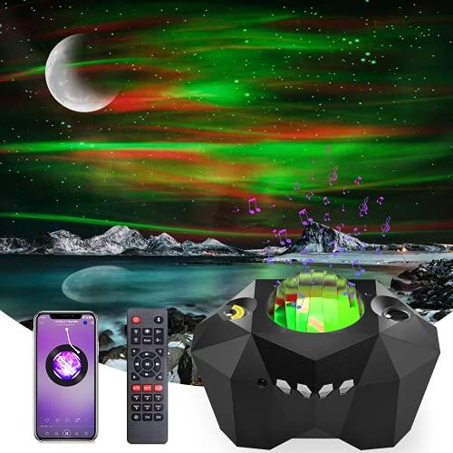 LED Sternenhimmel Projektor, GMEKA Nachtlicht Aurora Galaxy Projektor Lampe mit Fernbedienung/Bluetooth /Musikspieler/Timer/360°Drehen/5 Helligkeitsstufen für Kinder Erwachsene Party Dekoration