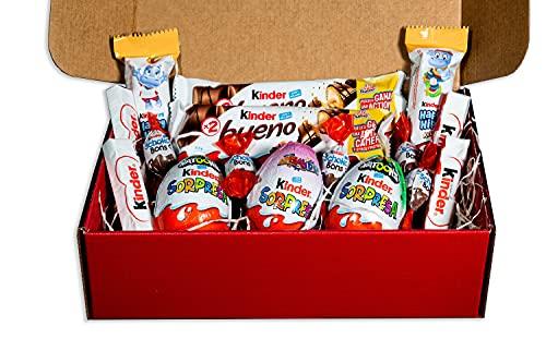 REGALO DULCE Confezione regalo kinder, cesto regalo kinder con 16 cioccolatini kinder, buona confezione regalo kinder, 25x16 cm