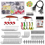 Saltwater Surf Fishing Kit 148pcs Fishing Lures Tackle Box with Fishing Bait Rigs, Fish Hooks, Saltwater Lures, Wire Leader Swivels Sinker Weights Fishing Accessories Gear
