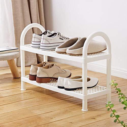 Zapatero de 2/3/4 niveles Parte inferior de plástico de almacenamiento en rack de múltiples funciones Organizador antideslizante de almacenamiento de zapatos para la entrada, pasillo, baño,2layer