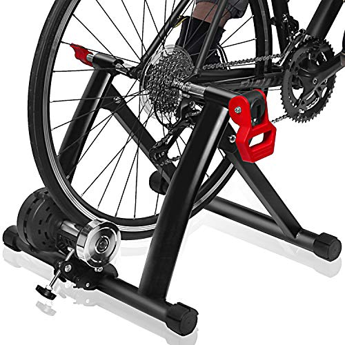 """Bike Trainer Stand – DRMOIS Portable Stainless Steel Indoor Exercise Bicycle Trainer Magnetic Flywheel, Stationary Bike Resistance Trainers for Road & Mountain Bikes with 26-29"""" Wheel-Red"""