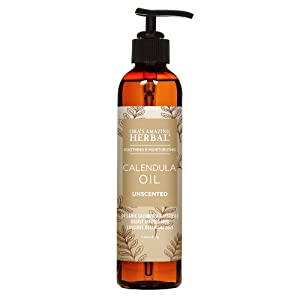 Calendula Oil with Licorice Root, Grapeseed Jojoba and Vitamin E, Fragrance Free Skin Care, Oil with Pump, Ora's Amazing Herbal
