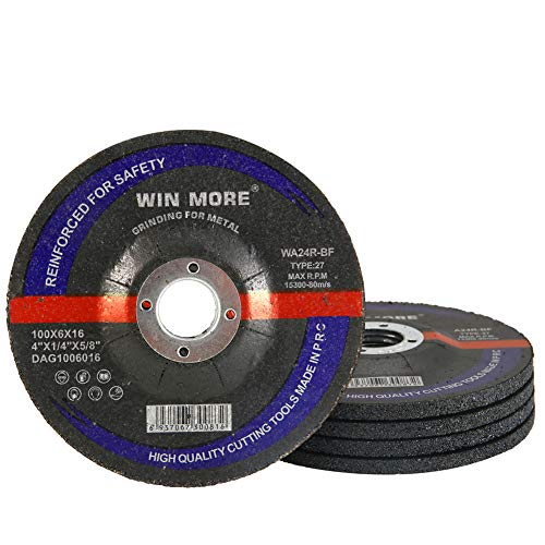 Win More 5 Pack-4' Grinding Wheel for 4' Grinder - Grinding Wheels for Metal & Stainless Steel 4' x 1/4' x 5/8'-Inch