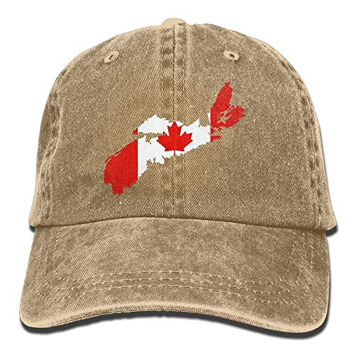 Vidmkeo Unisex Erwachsene Nova Scotia Kanada Karte Flagge Washed Denim Baumwolle Sport Outdoor Baseballmütze Einstellbar One Size Asphalt Multicolor20