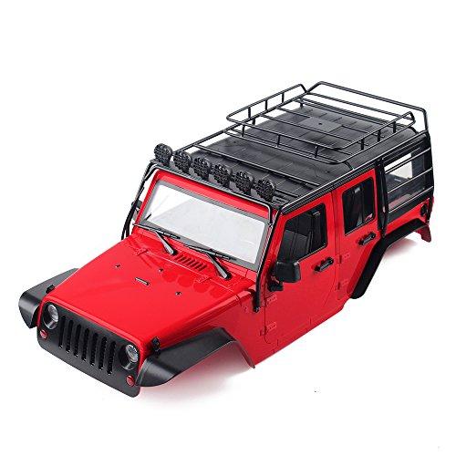 INJORA RC Carrocería Kit 313mm Distancia Entre Ejes Corpo Cuerpo con Portaequipajes Jeep Wrangler Rubicon Car Shell para 1/10 RC Crawler Axial SCX10 90046 (Rojo)