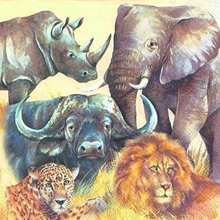 Big Five Lion Buffalo Olifant Rhino en Luipaard papier 3 lagen servetten 33 cm lunch vierkant 20 in een verpakking