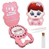 Caja dientes de leche para niños y niñas, Regalo para niños en madera de souvenir, Acumulación de dientes(Niña)