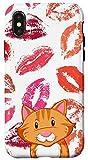 iPhone X/XS Cartoon Orange Cat Lip Kisses for Women Girls Case