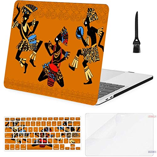 Macbook Air13'Retina (2018 2019) with Touch ID,A1932 Case,Plastic Dancing Aborigines Borigine Hard Shell Case With Keyboard Cover & Screen Protector & Cleaning Brush