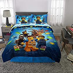 top 10 lego superheroes bedding LEGO Movie 2 Children's Bedding Set Soft Microfiber Blanket  Sheets Full 5 Piece Set Blue