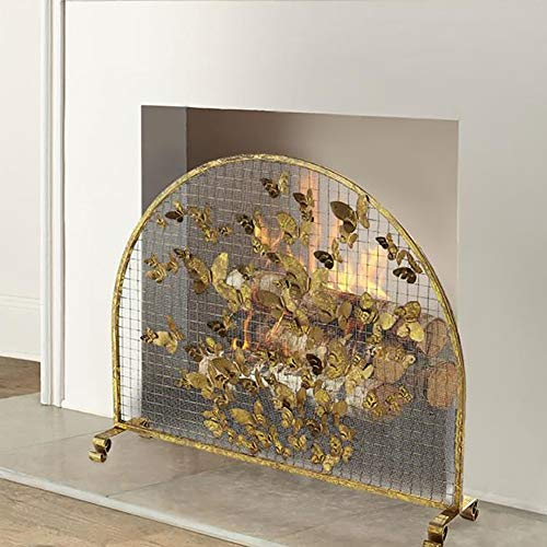 Review Of Fireplace Screens Luxury in Gold Color, Semicircle Wrought Iron Sparks Guard Outdoor Safet...