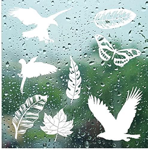 Ziruixiong 5 Post Estática Mariposa Blanca Hoja Verde Protección De Aves Anti-Colisión Etiqueta De Advertencia Decoración De La Ventana Etiqueta De La Pared