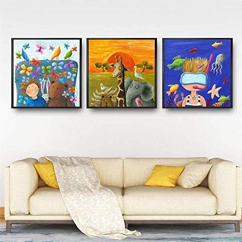 Druck auf Leinwand 3x50x70cm ohne Rahmen Druck Wohnkultur Cartoon Bier Gute Nacht Wandkunst Nordic Style Aquarell Bild Poster Für Wohnzimmer
